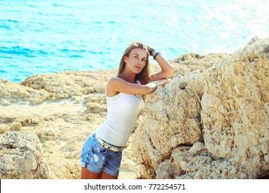 Woman girl Cyprus holiday sea