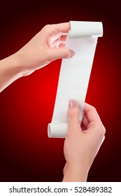 Woman or Girl Hold in Hands Roll of Paper With Printed Receipt Mock Up Template. Clean Mockup. May be Placed in Article About Shopping, Paying Bills, Finance. Copy Space & Clipping Path. Red Vignette