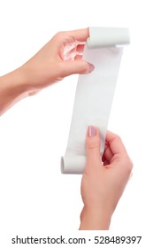 Woman or Girl Hold in Hands Roll of Paper With Printed Receipt Mock Up Template. Clean Mockup. May be Placed in Article About Shopping, Paying Bills, Finance. Copy Space & Clipping Path. On White.