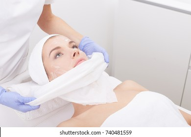 woman girl at a reception at a cosmetologist at a medical center