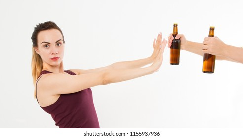 woman, girl refused alcohol drink isolated on white background.anti alcohol concept. Copy space