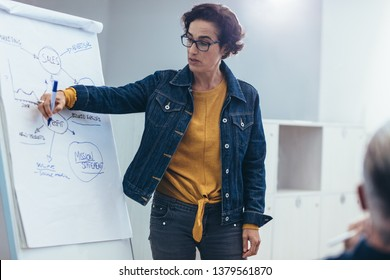 Woman giving presentation over flipchart to team. Female programmer explaining new project to coworkers in office.