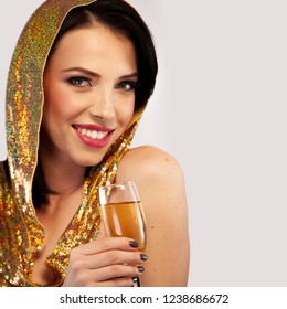 Woman with a glass of champagne, isolated on white