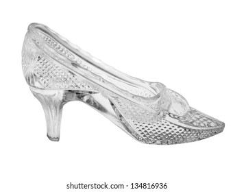 woman glass shoe with reflection isolated on black background