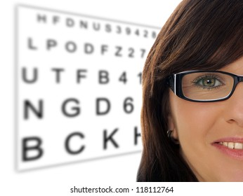 Woman with glasses at the eye doctor / Eye Test