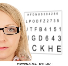 Woman with glasses and eye test panel / eye test