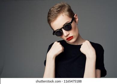 woman glasses and fashion dark tank top