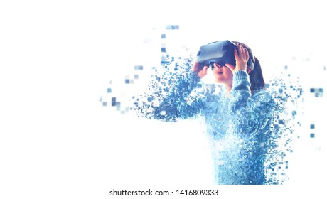 The woman with glasses of virtual reality. Future technology concept. Modern imaging technology. Fragmented by pixels. VR glasses.