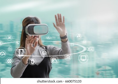 Woman with glasses of virtual reality. Future technology concept. Multichannel communication icon network for digital marketing.internet of things conceptual sign, internet era.
