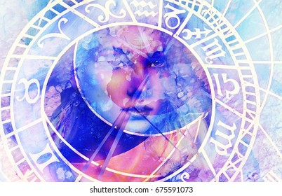 woman goddess in space with energy and lights, looking through eye of zodiac