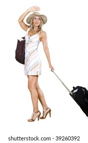 woman going on vacation waving goodbye