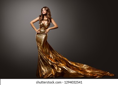 Woman Gold Dress, Fashion Model Gown with Long Tail Train, Young Girl Beauty Portrait