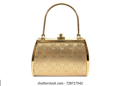 Woman gold handbag isolated on white background.Gold handbag isolated