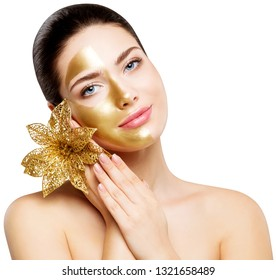 Woman Gold Mask, Beautiful Model Golden Facial Skin Cosmetic, Colored Half Face, Beauty Skincare and Treatment