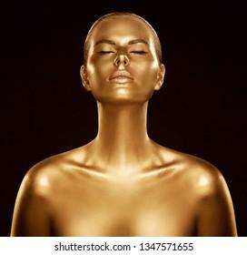 Woman Gold Skin, Fashion Model Golden Body Art, Beauty Portrait Face and Body Shine as Metal