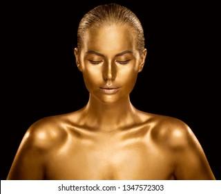 Woman Golden Skin, Fashion Model Painted Gold Body Art, Beauty Makeup as Bronze Metal