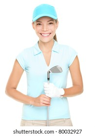 Woman golf player smiling holding golf club isolated on white background. Young mixed race Asian Caucasian female golf player