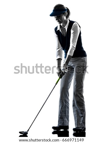 Woman Golfer Golfing Silhouette White Background Stock Photo Edit