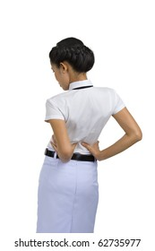 woman got back pain, isolated on white background