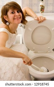 Woman in Gown cleaning toilet