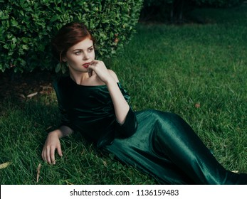 woman in green dress in the park