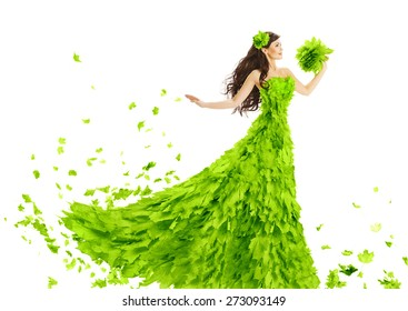 Woman Green Leaves Dress, Fantasy Creative Beauty Floral Gown, Spring and Summer Fashion Season Concept, over White Background