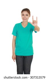 woman in green t-shirt with hand sign I love you isolated on white background