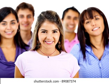 Woman with a group looking happy - isolated over a white background