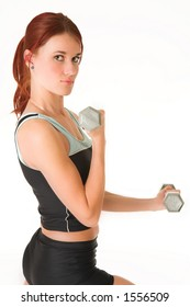 A woman in gym clothes, training with weights