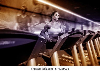 woman at the gym doing exercise on the treadmill