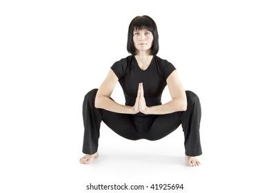 woman gymnast practicing yoga.