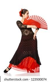 woman gypsy flamenco dancer. Isolated