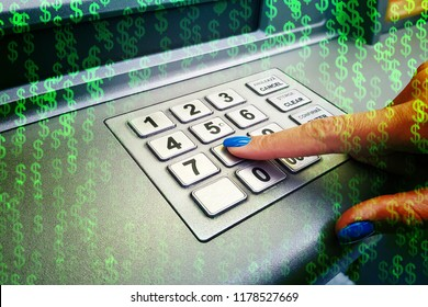 Woman hacker stealing sensitive data from credit card on ATM with abstract background