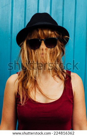 27ccb8c14b8 Woman Hair Covering Her Face Stock Photo (Edit Now) 224816362 ...
