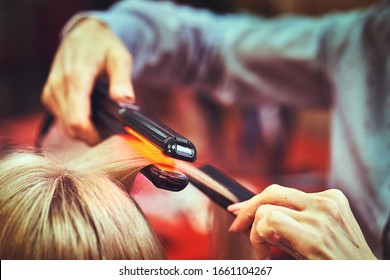 Woman at the hair salon getting her hair styled