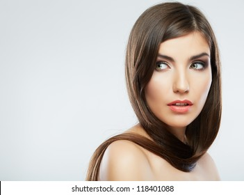 Woman hair style fashion portrait. isolated. close up female face.