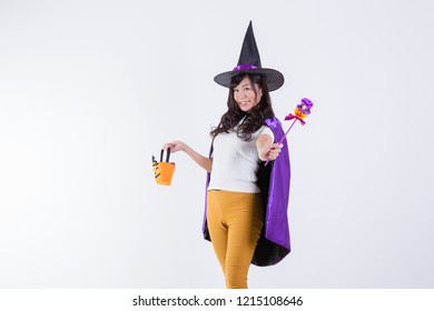 A woman in Halloween costumes