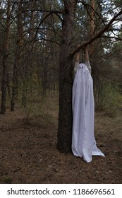 Woman in halloween ghost costume hanging on a tree in the forest.