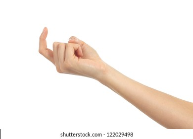 Woman hand beckoning on a white isolated background