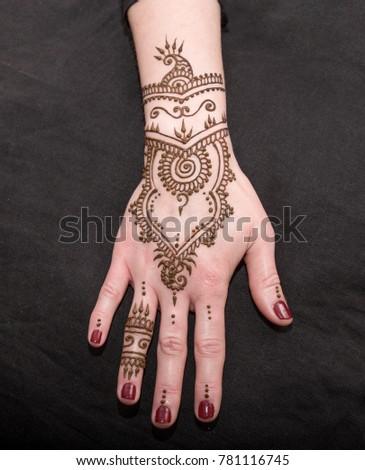 Woman Hand Black Cute Henna Mehendi Stock Photo Edit Now 781116745