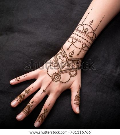 Woman Hand Black Cute Henna Mehendi Stock Photo Edit Now 781116766