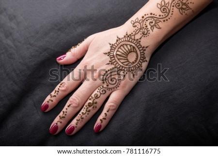 Woman Hand Black Cute Henna Mehendi Stock Photo Edit Now 781116775