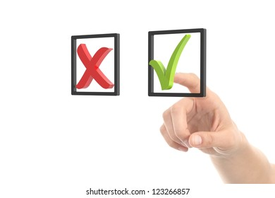 Woman hand checking tick and cross button on a white isolated background