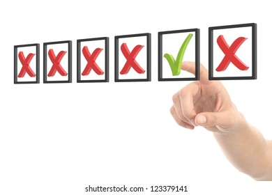 Woman hand checking tick and cross box on a white isolated background