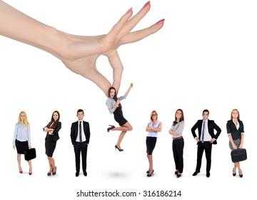 Woman hand choosing business woman