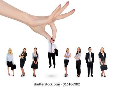 Woman hand choosing business man