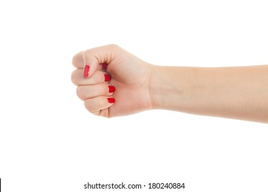 Woman Hand with clenched fist,isolated on white background