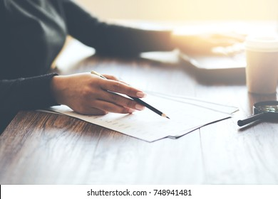 woman hand document and computer on office