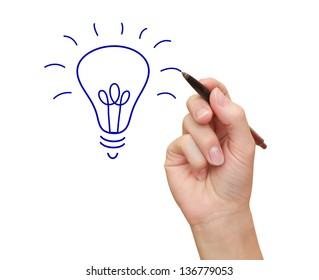 Woman hand drawing idea bulb the pen isolated on white background