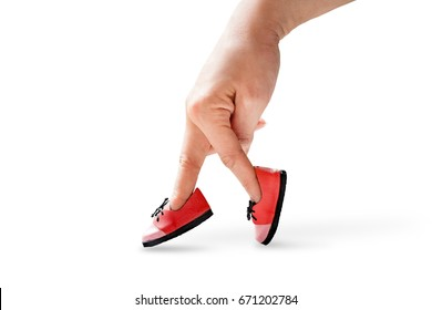 woman hand finger walking with shoe  isolated on white background concept, Traveler adventure outdoor summer vacations concept, Healthy lifestyle concept. Stay at home quarantine for coronavirus.